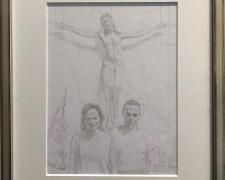 "Study: Two Donors Before a Hallowed Image, 2017, graphite on paper, i.s. 8 x 6"" / f.s. 12 x 10 1/8"""