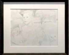 "Albireo (study), 2018, graphite on paper, i.s. 11 1/2 x 14 1/2"" / f.s. 17 x 20"""