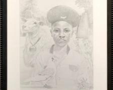 """Kush, 2018, graphite on paper, i.s. 14 1/2 x 11 1/2"""" / f.s. 20 x 17"""""""