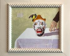 """Judith, Arranging for Presentation the Head of Holofernes (study), 2017, acrylic on panel, i.s. 10 1/2 x 12"""" / f.s. 16 x 17 3/4"""""""