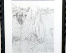 "Salome, 2018, graphite on paper, i.s. 14 1/2 x 11 1/2"" / f.s. 20 x 17"""