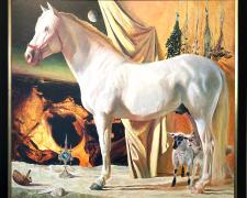 "And I Saw Heaven Open and Behold a White Horse..., 2002, acrylic on wood panel, i.s. 42 x 46 1/2"" / f.s. 47 x 52"""
