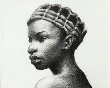 """Kingsley Onyeiwu, """"Untitled"""", 2019, charcoal, p.s. 9 1/2 x 8"""" / i.s. 6 1/2 x 4 1/2"""" / f.s. 11 1/4 x 9 1/4"""""""