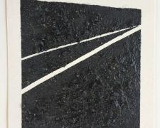 "Mirror or Mirage XXXII, 2016, tar, sand, asphalt on paper, 11 1/2 x 10""/f.s. 16 x 15"""