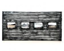 "Factory Panel #1 (detail), 2018, ceramics, mixed media, 48 x 24 x 3"""