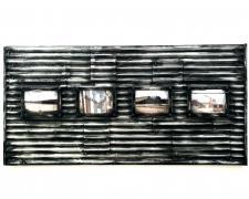 "Factory Panel (detail), 2018, ceramics, mixed media, 48 x 24 x 3"""