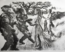 """Iesha Nemesis in Louisiana, 2017. lithograph, 13 1/2 x 18 1/2"""""""