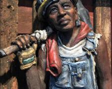 "John Henry (large), 2015, ceramic, mixed media, 31 1/4 x 14 3/4 x 6 3/4"""