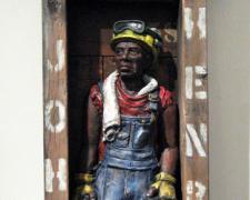 """John Henry (small), 2015, ceramic, mixed media, 26 3/4 x 12 x 5 1/2"""""""