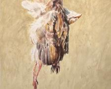 "Hanging Dead Fowl, 2019 acrylic wash on paper, p.s. 17 1/2 x 13 1/2"" / i.s. 12 1/4 x 7 1/4"""