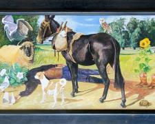 "The Disobedient Prophet, 2020, acrylic on panel, Kermit frame, 31 1/2 x 49 1/2"""