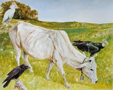 """A Gaunt Belled Cow Wondering, 2020, acrylic on paper, p.s. 15 x 17 3/4"""""""