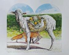 """Bellwether with Nesting Paisano, 2020, offset litho, p.s. 12 3/4 x 14"""" / i.s. 8 3/4 x 9 3/4"""", ed. 123/200"""