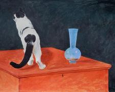 White and Black Cat with Blue Vase Atop a Red Chest, 2020, acrylic on paper, p.s. 15 x 19 3/4""