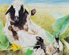 A Young Errant Goat Entangled Amid a Rank and Rampant Vine of Buffalo Gourds, 2020, acrylic on paper, p.s. 15 x 20""