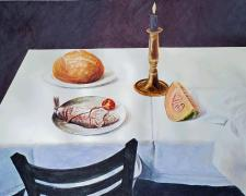 """The Last Meal at Jerusalem, 2019, acrylic on paper, p.s. 15 x 20"""""""