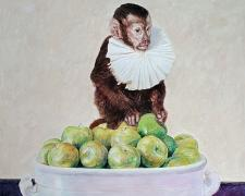 A Ruffed Monkey Caressing Apples, 2020, acrylic on paper, p.s. 18 x 15""
