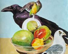 "Still Life with Birds, 2020, acrylic on paper, p.s. 20 x 15"""