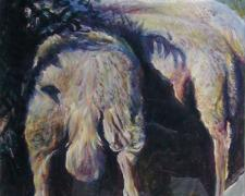"""Sheep in Shade, 1996, acrylic on paper, 16 x 10"""""""