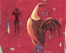 "Cock, 2004, oil, acrylic, paper on canvas, 25 x 22"", (Secondary Market)"