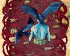 Flock, 2005, oil, acrylic, paper on canvas, 14 1/2 x 12 1/4""