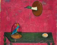 Still Life with Birds, 2004, oil, acrylic, paper on canvas, 25 x 22""