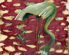 Thirst, 2005, oil, acrylic, paper on canvas, 14 1/2 x 12 1/4""