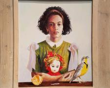 """Madonna with Bebe Before a Psalming Meadowlark, 2018, acrylic on panel, i.s. 14 x 12"""" / f.s. 19 1/2 x 17 1/2"""""""