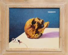 "Memento Mori, 2017, acrylic on panel, i.s. 9 1/2 x 12"" / f.s. 13 1/2 x 16"""