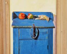 "Pomegranates, Dead Passerine, Blue Cupboard, 2017, acrylic on panel, i.s. 12 1/2 x 8 1/2"" / f.s. 15 3/4 x 12"""