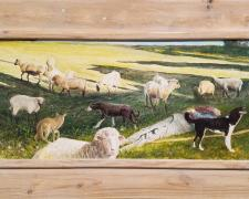 """The Hireling Shepherd, 2017, acrylic on panel, Kermit frame, 16 1/8 x 27 1/8"""""""