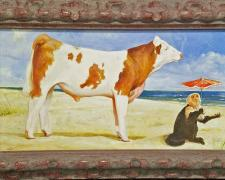 "Young Simmental Bull and a Parasoled Monkey Enjoying the Gulf Shore, 2018, acrylic on panel, i.s. 6 x 11"" / f.s. 8 1/2 x 13 1/2"""