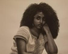 Portrait of an Eritrean Woman, 2017, charcoal, s.s. 50 x 38""