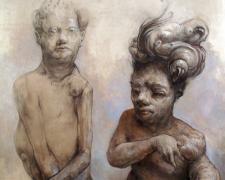 """King and Queen, 2012, graphite and acrylic on panel, 16 x 11 7/8 x 2 3/4"""""""