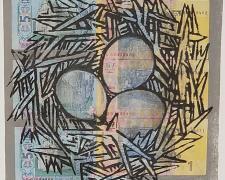 "Lydia Bodnar-Balahutrak, ""A Nesting"", 2019, print, ink, charcoal, collage, i.s. 10 x 10"" / p.s. 15 x 11"""