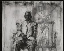 Man with Spartacus, 2010, charcoal, 56 x 47""