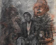 "Ascension, 2019, acrylic, charcoal, silkscreen, 44 x 30"""