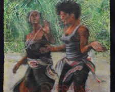 "Dance Lesson, 2018, acrylic, charcoal, silkscreen, 32 x 22"""