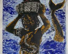 "Mamy Wata Blue, 2017, relief, 21 1/2 x 14 3/4"""