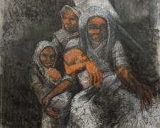 "Refugees, 2020, acrylic, charcoal, silkscreen, 44 x 30"""