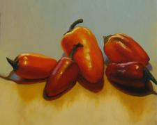 Little Peppers, 2016, oil on board, 12 x 12""