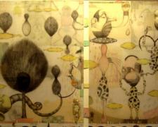 """A Little Bit Left, 2008, color pencil, graphite, collage, ink, p.s. 24 1/2 x 36 1/2"""" / f.s. 33 x 41"""""""