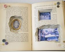 Looking Backward, 2018, bound book, found objects, 5 1/2 x 11 1/2 x 1 1/4""