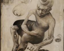 "Mark Greenwalt, I Spot Eye Spot, 2021, graphite, acrylic on panel, 12 x 9 x 2.5"""