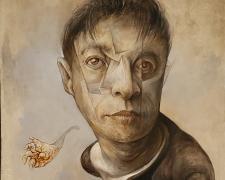 "Mark Greenwalt, Floating Head, 2020, graphite, acrylic on panel, 12 x 9 x 2.5"""