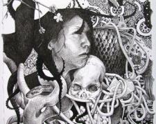 """The Cost of Cliche, 2008, ink on paper, 9 x 7 1/2"""""""