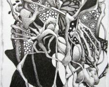 """Weeping Butterfly, 2009, ink on paper, 5 1/4 x 3 3/4"""""""