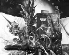 "Mayuko Ono Gray, Pulsating Still Life - Composition in Green, 2021, graphite on paper, 93 x 70.5"""