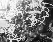 """Mayuko Ono Gray, Pulsating Still Life - Composition in Orange, 2021, graphite on paper, 94 x 65"""""""