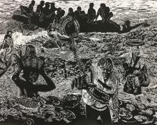 "Mamy Wata & Refugees, 2017, woodcut, 36 x 60"""